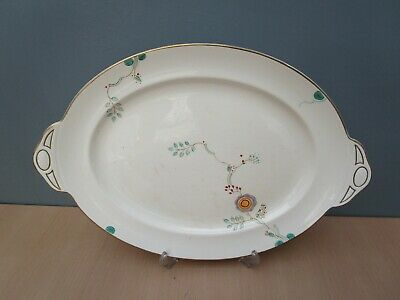 Vintage Art Deco Pretty Hand Painted A E Gray & Co 18 1/8  Oval Serving Plate • 10£