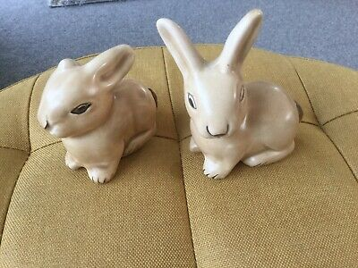 Beige Pottery Figures Of Rabbits Art Deco Style ~ Denby - • 29.99£