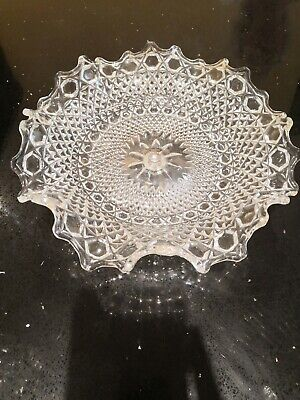 Vintage Cut Glass Lead Crystal Cake Stand • 12.50£