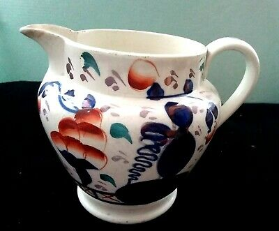 Antique XlX Century Gaudy Welsh Pottery Pitcher Jug Collectible England  • 22£