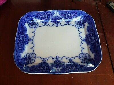 Large Antique Flow Blue LONSDALE Meat Plate 39x33cm Smith & Ford  • 20£