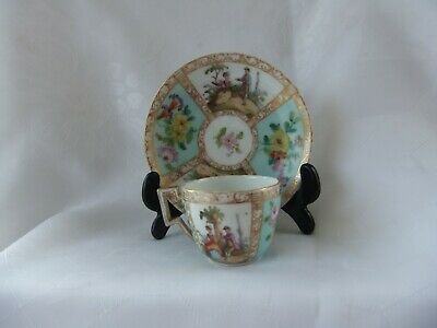Antique Miniature Meissen Cup & Saucer - Floral Sprays & Courting Couples C.1900 • 31£