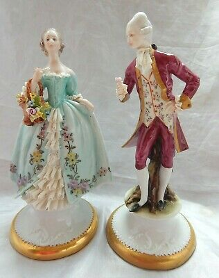 Lovely Pair Of Vintage Capodimonte Figures Of A Lady And Gentleman • 28£
