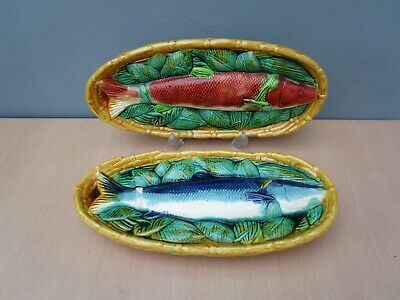 2 Majolica Style Oval Pottery Fish Plates / Platters • 10£