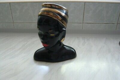 Pottery Black African Queen Lady Head Vase Gold Trim • 3£