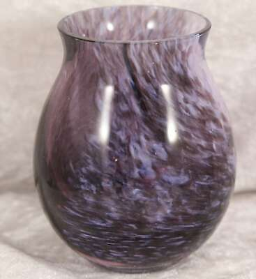 Small Unmarked Purple Speckled Glass Vase Just Over 3  Tall Flower Arranging  • 2.50£