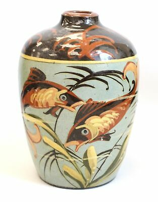 Antique HM EXETER HART & MOIST POTTERY Devon Ceramic FISH VASE - 18cm H - Y96 • 24£