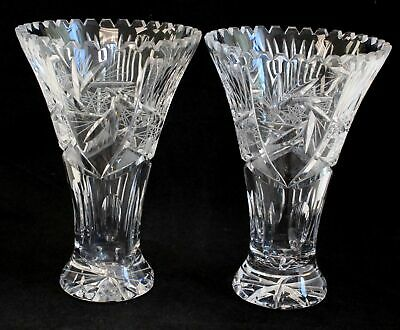 2x Vintage Large, Heavy CUT CRYSTAL Etched FLOWER VASES - 26cm In Height - C17 • 5.19£