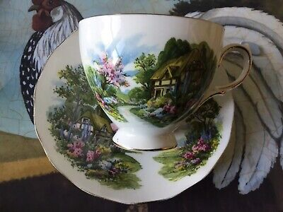 Royal Vale Bone China Cup And Saucer Country Cottage Floral Scene Rigway Pottery • 7.99£