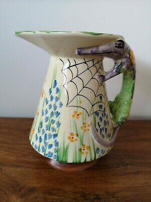 Art Deco ?1920's ? Hand Painted Patterned Jug With Alligator Handle • 20£