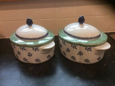 A Pair Of VILLEROY & BOCH LARGE LIDDED VEGETABLE DISHES SWITCH 3 Brand New • 30£