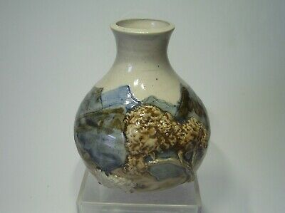 Arran Studio Pottery - Vase / Pot - Applied Sheep & Tree - Signed • 9.99£