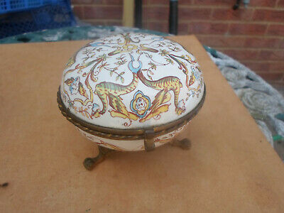 Antique French Hand Painted Faience Footed + Hinged Jewerly / Trinket Box • 14.50£