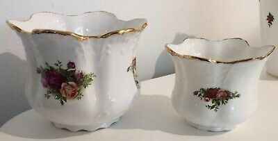 2 X Royal Albert Country Roses Plant Pots Planters 4.5 & 3.5 Inches • 5.50£
