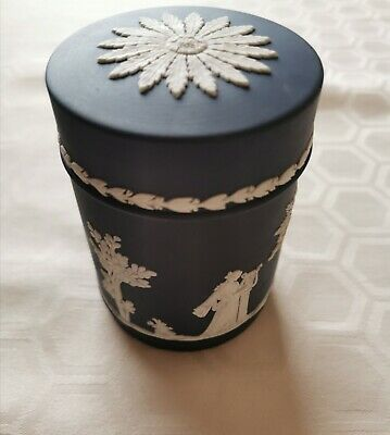 Wedgwood Jasperware Dark Blue Lidded Pot/jar • 5£