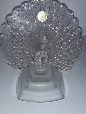 FRENCH CRYSTAL CUT Peacock. Lovely Item In Perfect Condition. • 3£