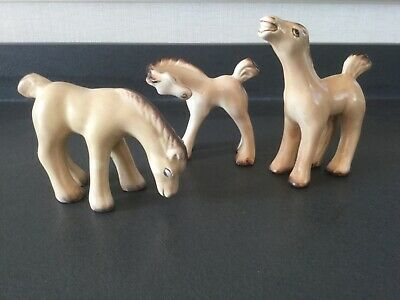 Three Beige Pottery Figures Of Horses Art Deco Style ~ Denby  • 46.75£