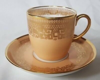 Charming Cauldon Cabinet Cup & Saucer Peach Ornately Gilded English C1900 • 48£