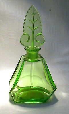 Art Deco Green  Glass Perfume Bottle Uranium Stopper  • 29.99£