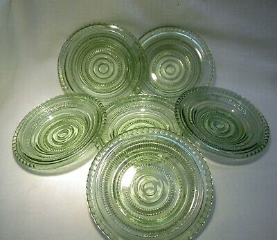 Art Deco Green  Glass 5  Plate X 6 • 19.99£