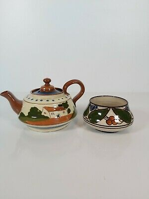Torquay Pottery Small Teapot And Sugar Bowl  • 14£