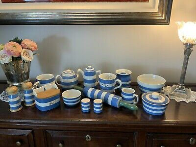 Tg Green Church Gresley Rare Coffee Salt Cornishware Job Lot • 350£