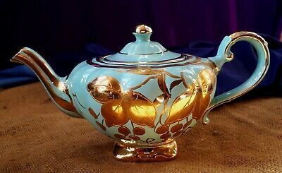 Antique C1900 Arthur Wood Tea Pot/ Teapot 4664. Teal Blue & Gold. Camellia Plant • 15£