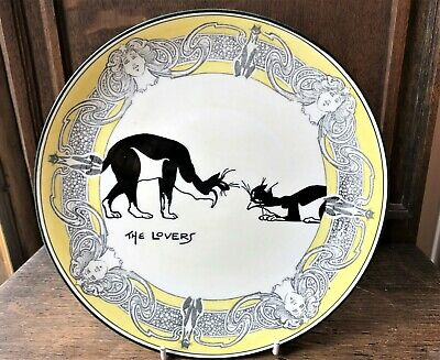 Royal Doulton Souter Plate - The Lovers - Cats Within Art Nouveau Yellow Border • 400£