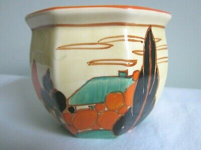 Clarice Cliff Small Octagonal Plant Pot Holder Fantasque Trees & House Design  • 147.67£