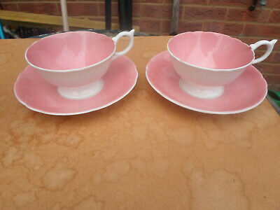 Vintage Aynsley China Salmon Pink Cup And Saucer X 2 • 8.50£