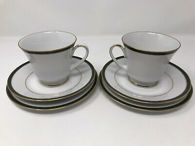 2 X Boots Hanover Green Cup, Saucer And Side Plate Trio • 9.99£