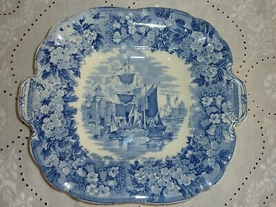 Wedgwood Etruria Ferrara Blue & White Square Dish With Handles - 1924-1930 • 12£