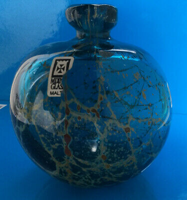 "Vintage Mdina Michael Harris Era ""sea & Sand"" Large Globe Vase -in Exc Condition • 15.99£"