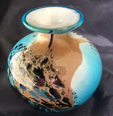 """Stunning Mdina """"tiger""""  Squat Bud Vase Signed & Labelled In Excellent Condition • 14.99£"""