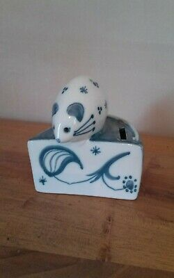 Vintage Rye Pottery Mouse On Cheese Money Box Blue And White By David Sharp • 4.50£