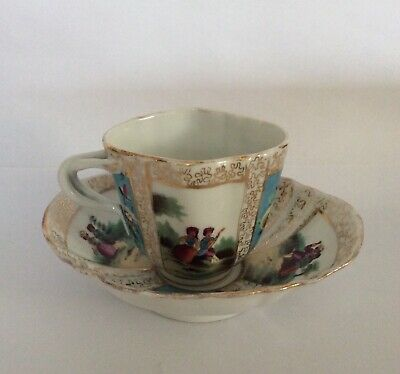 Antique Helena Wolfsohn Style Dresden Porcelain Shaped Cabinet Cup & Saucer • 9.99£