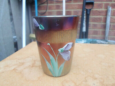Carnival Glass Beaker With Painted Enameled Flower And Ribbed Design Northwood ? • 9.50£