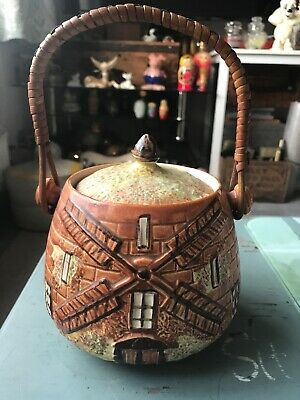 Price Bros Cottage Ware Lidded Windmill Biscuit Barrel With Handle • 4.40£