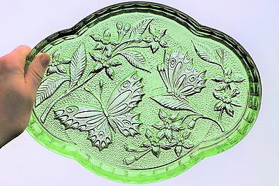Glass Tray Butterflies Green Plate Dish Sushi Platter Sowerby Art Deco Cake  • 14.99£