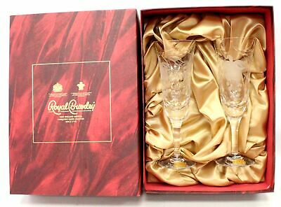 Pair Of ROYAL BRIERLEY Fine English Crystal FUCHSIA Champagne Flutes BOXED - P33 • 9.50£