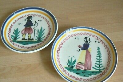 TWO VINTAGE QUIMPER PIN DISHES – Man  And Woman • 1.99£