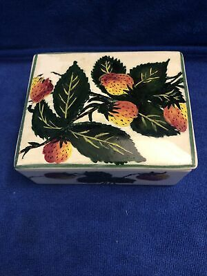 Antique Plichta Wemyss Ware Rare Square Trinket Box Strawberry Pattern • 30£