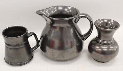 3 X Pieces PRINKNASH Pewter Coloured Pottery Small Jugs & Vase - B31 • 4.99£