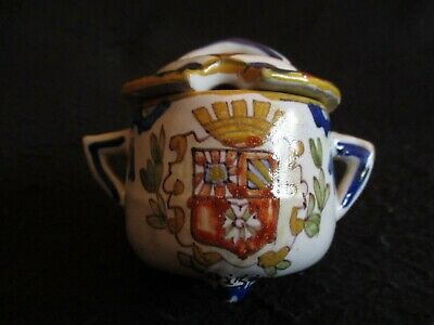 ANTIQUE ROUEN FRENCH FAIENCE HAND-PAINTED DIJON CRESTED MUSTARD POT  C.1880's  • 29.99£