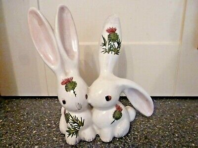 Vintage Wemyss Plichta Kissing Rabbits Figure With Thistle Design London England • 9.99£
