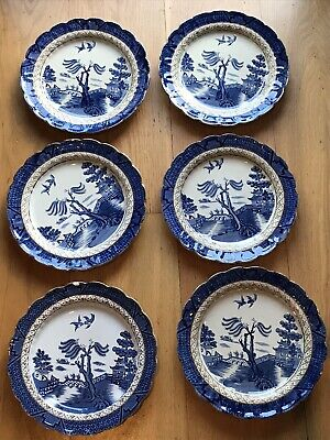 Booths Antique Real Old Willow 10.5 Dinner Plates X 6 (includes 1 Older Plate) • 41.99£