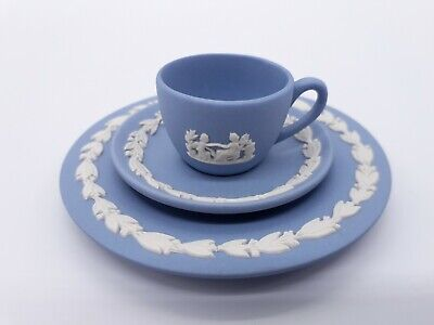Wedgwood Jasperware Miniature Cup Saucer And Side Plate Trio Blue • 29.99£