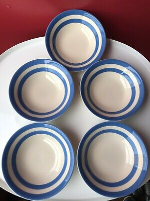 TG Green The Original Cornish Blue Stamp 5 X 6.5  Cereal Bowls  VGC Cornishware • 60.99£