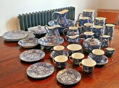 Collection Blue & White Calico Pottery Burleigh Heron Cross Staffordshire • 14.99£
