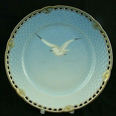 Antique B&G Seagull Pattern Reticulated Plate - Gold Border - C1853-1900 • 150£